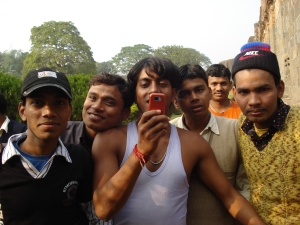 "Indian men, capturing the ""sights"" at Adina Mosque"