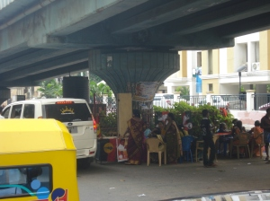 election booth under a fly-over, Chennai